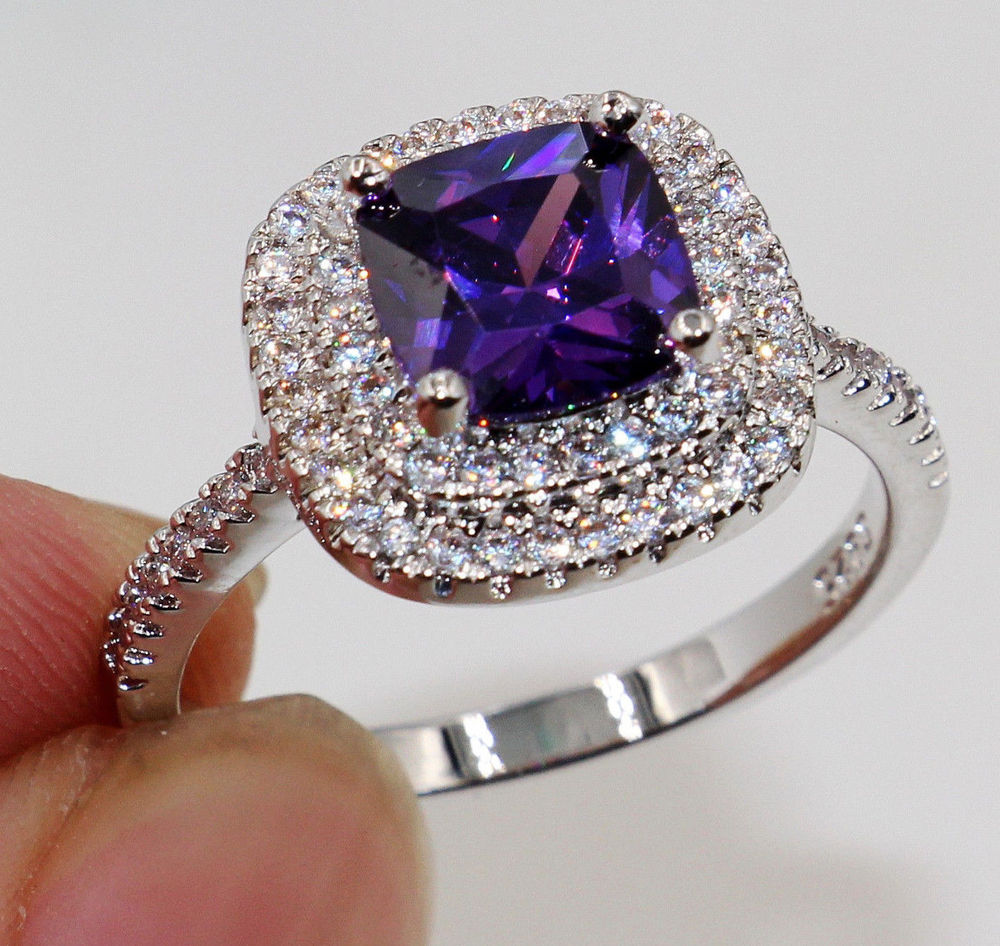 Square Simulated Amethyst Center Micro Pave Set Cubic Zirconia Bridal Ring Sterling Silver