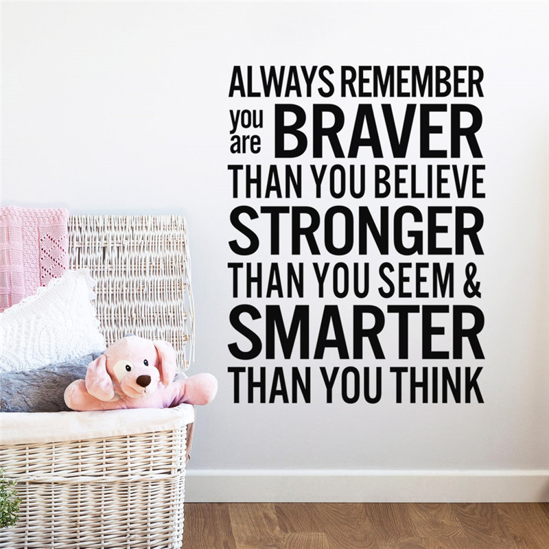 HOT !! NEW Braver Smarter Than You Think inspiring quotes wall sticker office Decal 8440 Living room Home decor