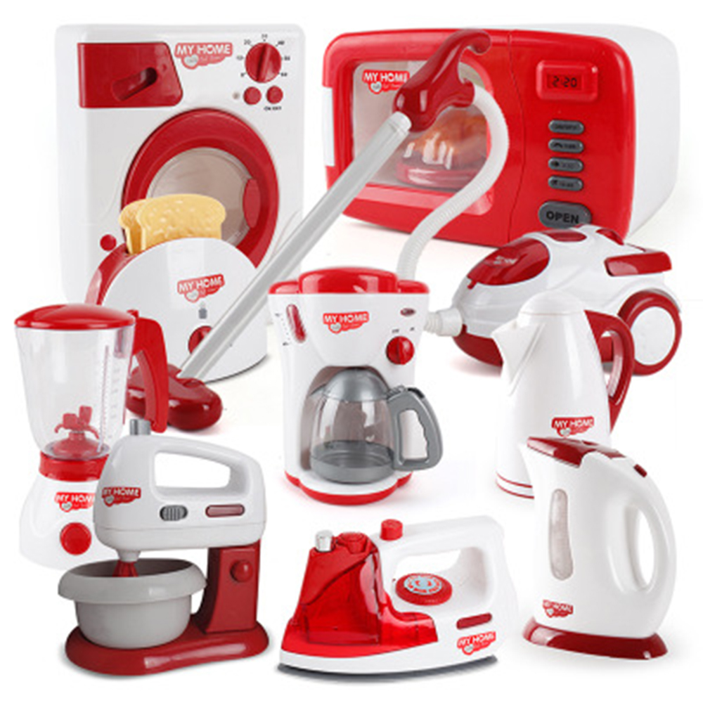 Household Appliances Pretend Play <font><b>Kitchen</b></font> Children <font><b>Toys</b></font> Coffee Machine Toaster Blender Vacuum Cleaner Cooker <font><b>Toys</b></font> For Kid <font><b>Toys</b></font> image