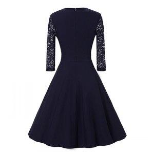 Image 2 - חדש סתיו נשים קוקטייל המפלגה שמלת 2019 אלגנטי אונליין קצר כחול כהה ליידי קוקטייל שמלות בציר קצר פורמליות שמלה לנשף
