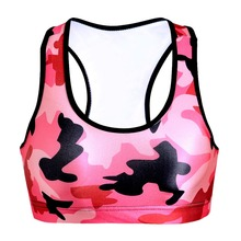 NEW Summer Sexy Girl Women pink Camouflage 3D Prints Padded Push Up Gym Vest Top Chest Running Sport Yoga Bras 0025