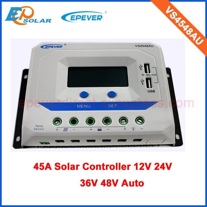 45amp 45A Regulator solar Battery Charging Controller for home system use 12v 24v 36v 48v PWM VS4548AU 45a pwm solar panel controller solar charge controller regulator 12v 24v battery charging for 1kw solar system