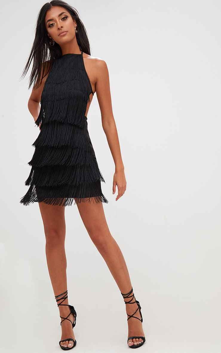 f01b1f42374b3 Sexy vestido Party dress women befree summer Backless bandage Halter Black  green tassel Mini Dresses elegant Night club clothes