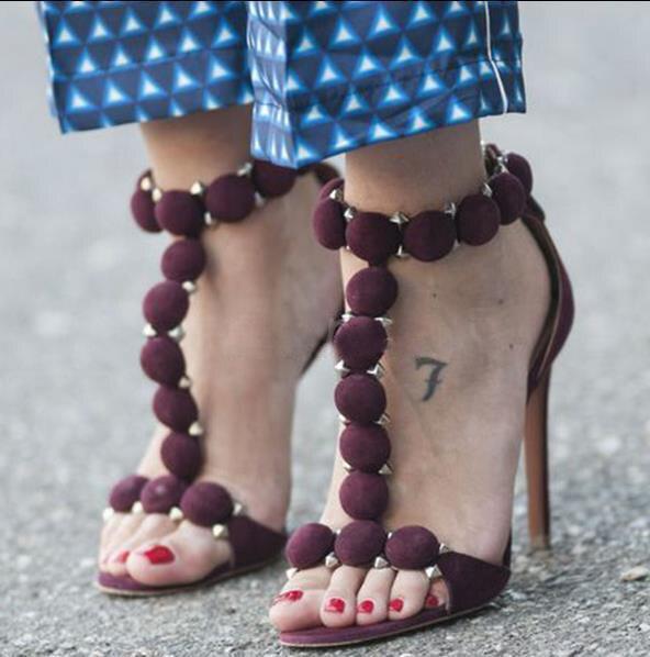 Sexy High Heel Sandals Rivets Decor Back Zipper Women Sandals Gladiator Sandals Studded Dress Shoes Stiletto Heel Pumps Discount