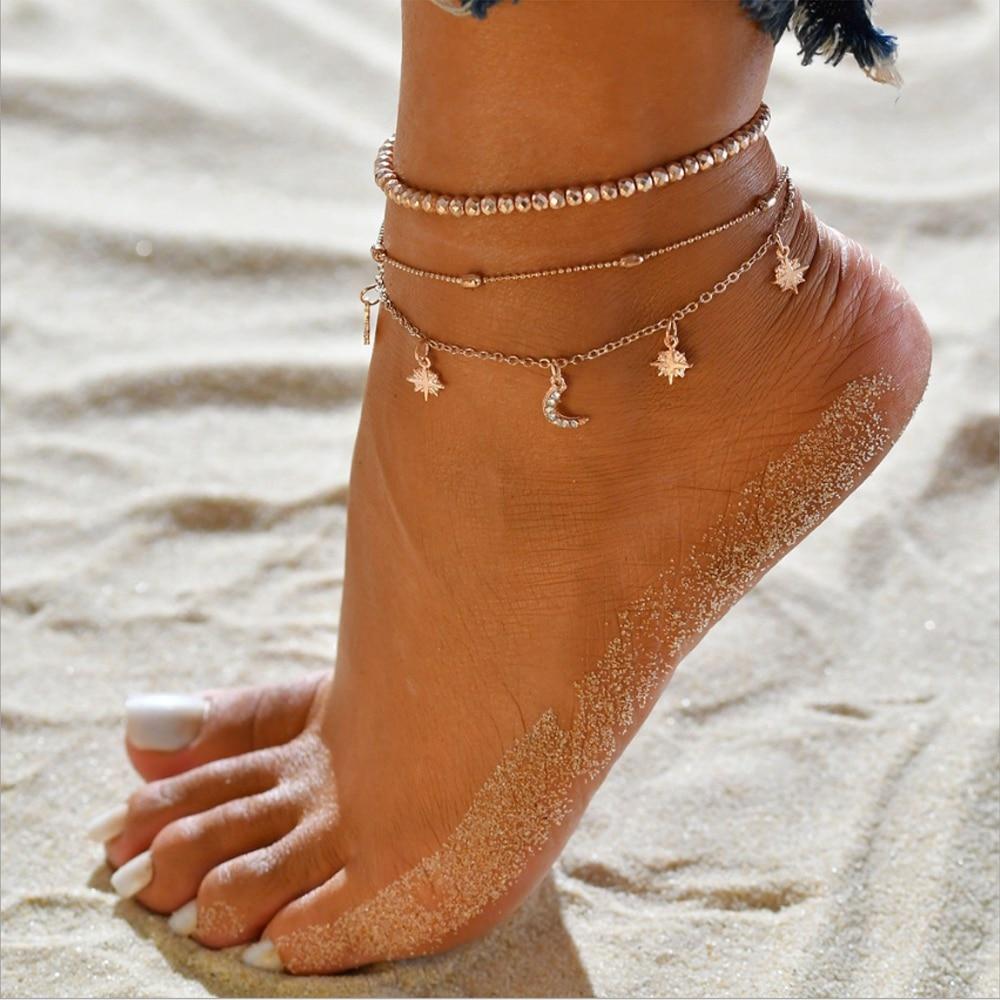 Star Moon Ankle Bracelet Women Stainless Steel Anklets Female Fashion Feet Jewelry Accessories 21 CM Leg Bracelet