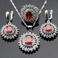 Color de plata Sistemas de La Joyería Para Las Mujeres Flor Roja Creado Granate Blanco CZ Gota Pendientes/Anillo/Collar/Colgante Caja de Regalo libre