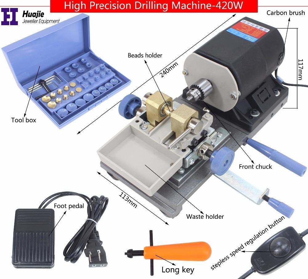 freeship BLACK Stone Pearl Drilling Machine Jewelry Making equipments beading polishing tools 420W powerful Amber Holing
