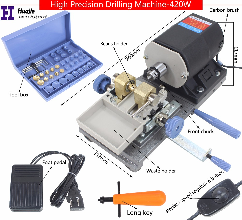 NEW! BLACK Stone Pearl Drilling Machine Jewelry Making equipments beading polishing tools 420W powerful Amber Holing Machine