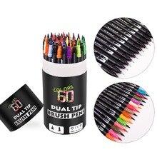 듀얼 팁 브러쉬 펜 60 독특한 색상 레터링 펜 마커 브러쉬 Fineliner 팁 색칠 예술에 완벽한 Doodling Hand Lettering
