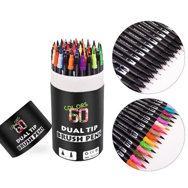 Canetas de escova de ponta dupla 60 cores originais marcadores de caneta de rotulação escova fineliner dicas perfeitas para colorir arte doodling mão rotulação