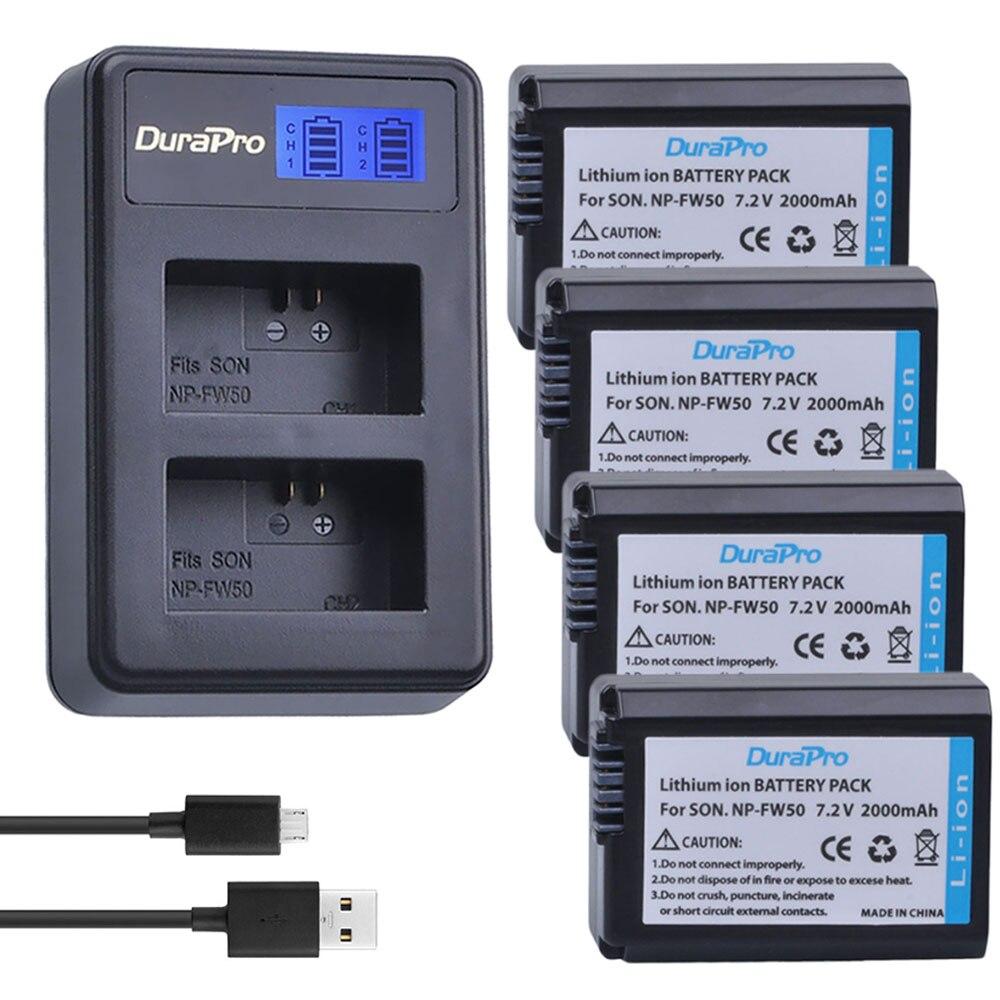 4 Unid 2000 mAh NP-FW50 NP FW50 FW50 batería Cámara + LCD cargador para Sony A6000 NEX-7 NEX-5N NEX-F3 NEX-5C alfa 7R II bateria