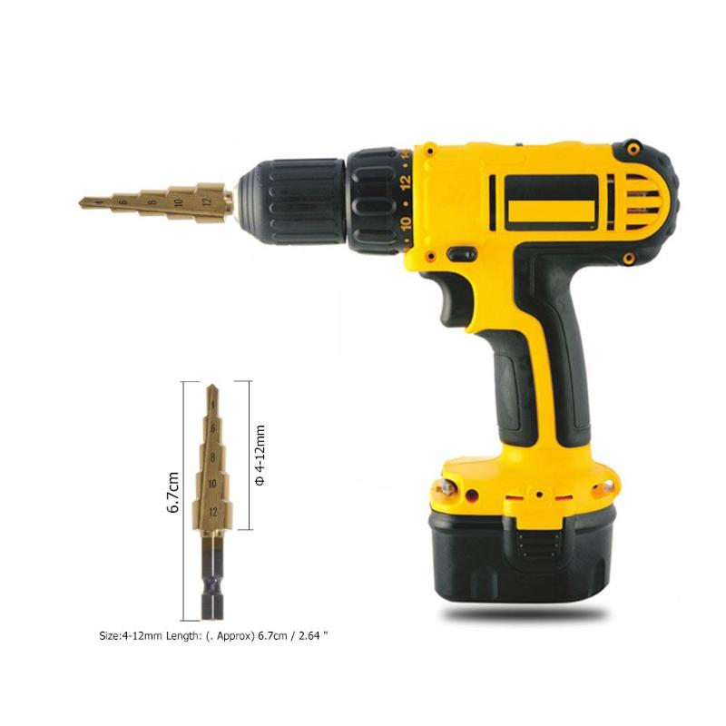 4 12mm HSS Titanium Coated Step Drill Bit CountersinkPower Tools Step Drill Bit for Metal Tools Set Hole Cutter in Drill Bits from Tools