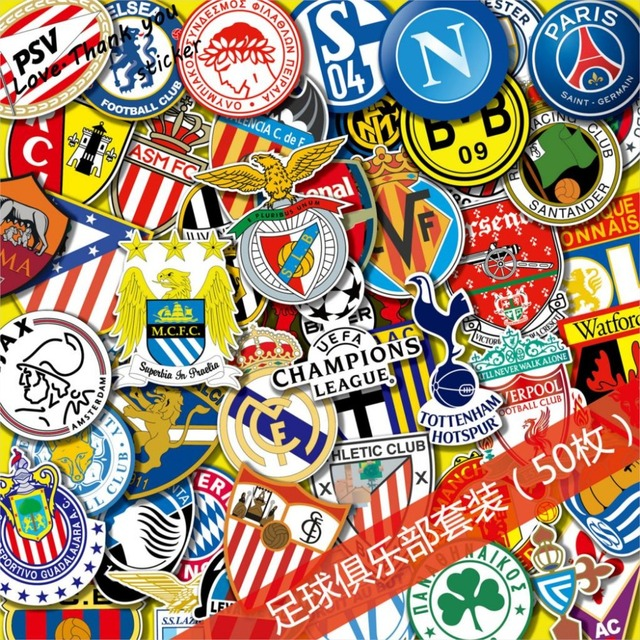 517eca6a3643 50pcs lot DIY Creative stickers Graffiti Football Club Creative Hat Sticker  Skateboard Mobile Hand Luggage
