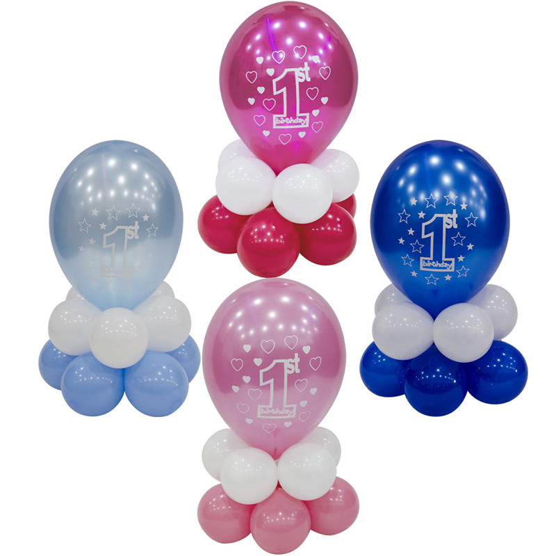 Happy 1st Birthday Boy Girl Blue Pink Balloon Party Table Decoration Display Kit Baby Shower Balloons