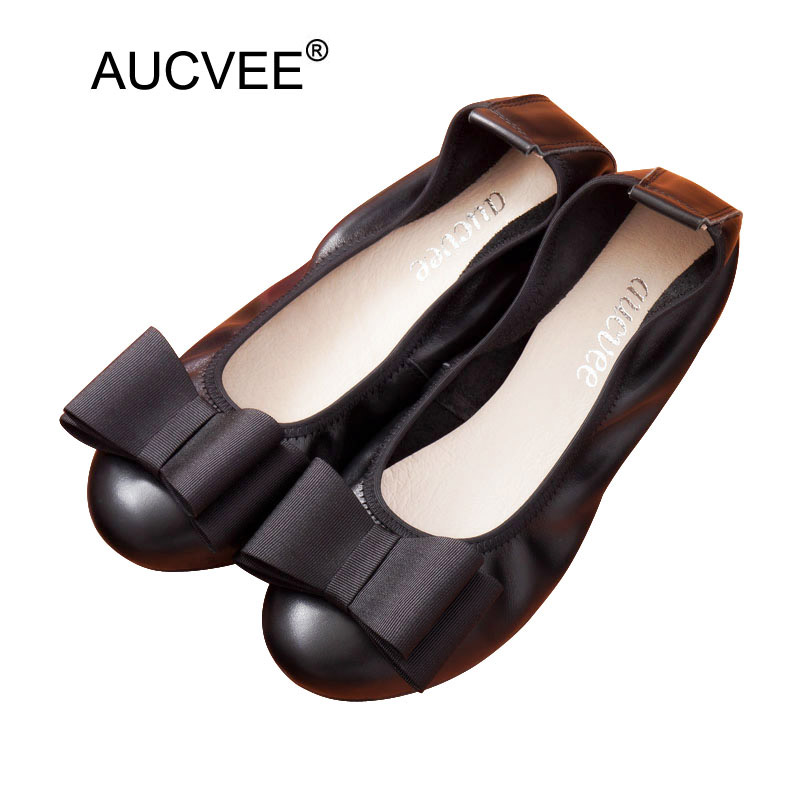 Women ballerina flats casual shoes genuine Leather slip on ballet bow Ladies soft moccasin black red