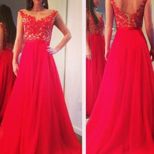 Elegant Red Pink A-Line Long   Prom     Dresses   Sheer Neck Applique Floor Length Party Gowns Custom Made Vestidos de Novia ZY4543