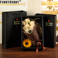 FUNNYBUNNY Artificial Flowers 7PCS Soap Flower Gift Box Valentine's Day Gift Roses Carnation Bouquet Fake Flowers