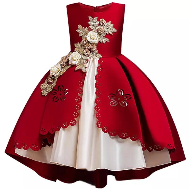 HTB1MmgbX4D1gK0jSZFyq6AiOVXaP Kids Dresses For Girls Elegant Princess Dress Christmas Children Evening Party Dress Flower Girl Wedding Gown vestido infantil