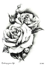 Rocooart Ny Sketch Rose Vanntett Fake Tatovering Taty For Women Menn Midlertidig Tattoo Sticker Back Arms Flash Tatoo Henna Tatuaje