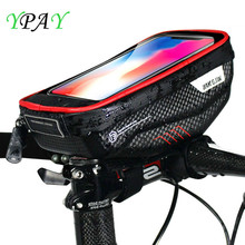 YPAY Bicycle Phone Bag Holder MTB Top Front Tube Bag Mobile Phone Rainproof Waterproof Touch Screen For iPhone X Samsung Huawei