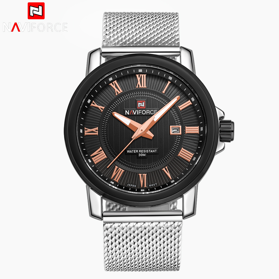 NAVIFORCE Top Luxury Brand Men Watches Full Stainless Steel Quartz Men Fashion Business Wrist Watch Male Clock Relogio Masculino migeer relogio masculino luxury business wrist watches men top brand roman numerals stainless steel quartz watch mens clock zer
