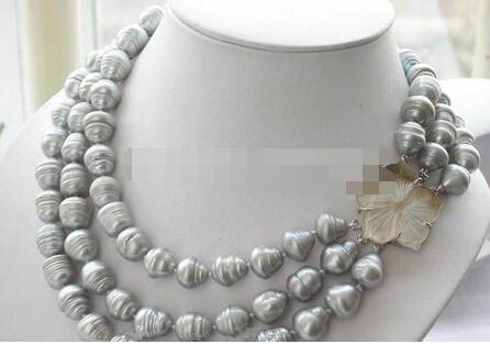 Free shipping >>@ 864 3ROW 10-12mm natural south sea gray baroque pearl necklace 17-19