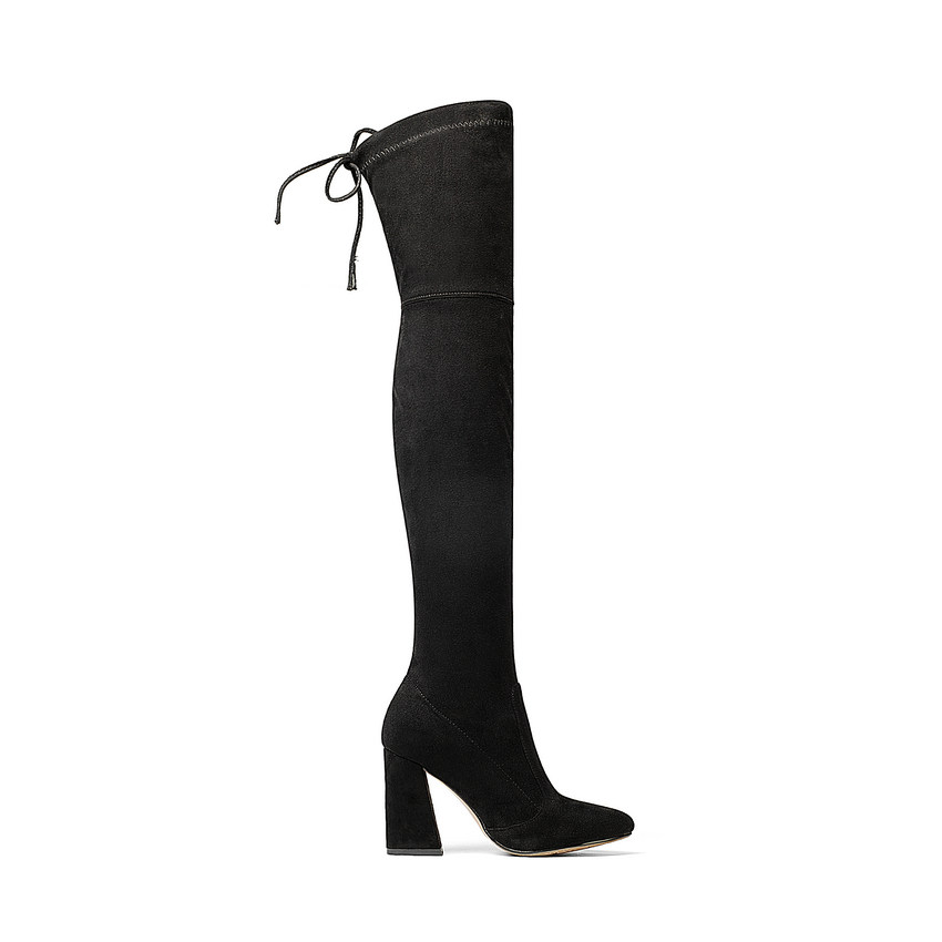 Flock Leather Over The Knee Boots Lace Up Sexy High Heels Autumn Winter Women Shoes 4