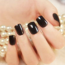 24pcs Short Clear Full Cover Press On Nails Bling Squoval Solid Color Fake Black Pink Acrylic Natural Girls False