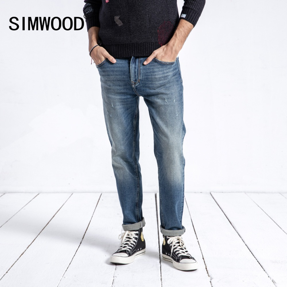 SIMWOOD Brand Jeans Men 2019 Spring Winter New Fashion Slim Fit Denim Pants Trousers Streetwear High Quality Male 180335
