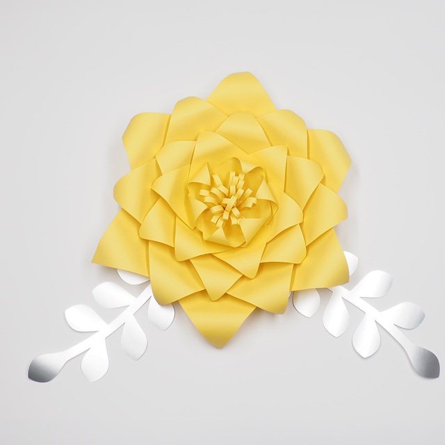 1Piece Flower +2PCS Leaves Giant Large Paper Flowers Backdrop Wall ...