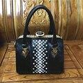 2016 new winter women's European diamond handbag interval portable shoulder Xiekua package Split leather handbag horse fur bag