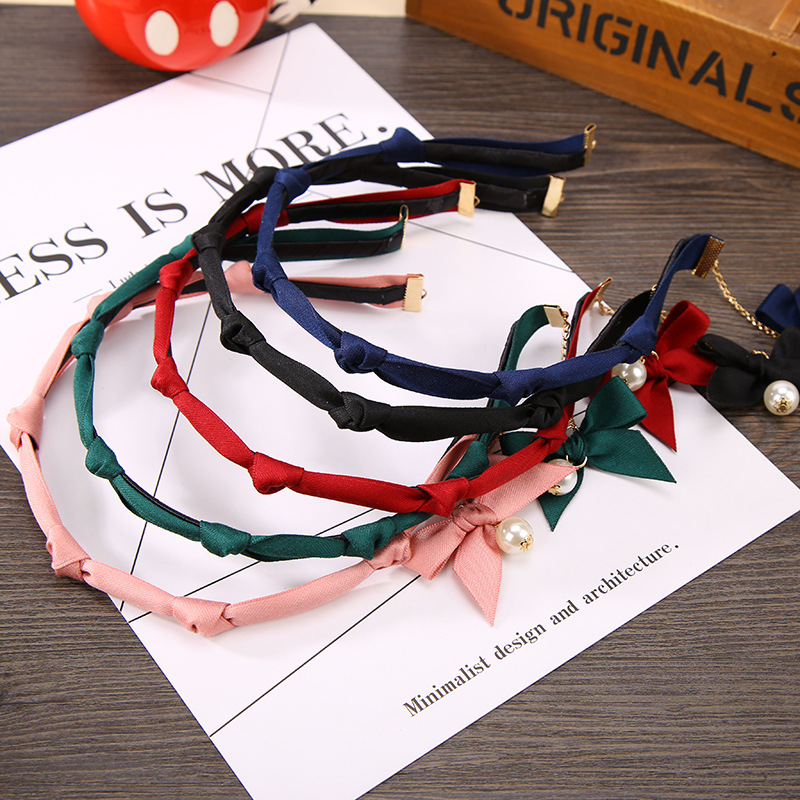 Red Green Pink Red Black Blue 6 Knots Hair Bands Lovely Ribbon Bowknot Simulated Pearl Pendant Headbands Girls Women Headwear