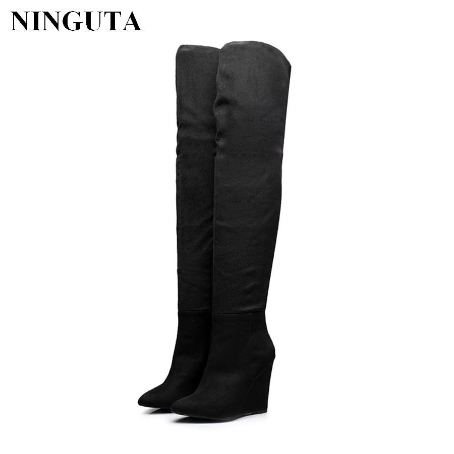 Brand wedges thigh high boots women for spring autumn over the knee boots ladies shoes hot 2017 new fashion sweet womens high boots spring autumn ladies over the knee boots casual women boots for women t26 1