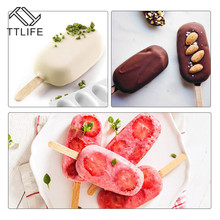 TTLIFE 8 Cavity Ice Cream Silicone Mold DIY Molds Cube Mould Maker Dessert Tray With Popsicle Thick material