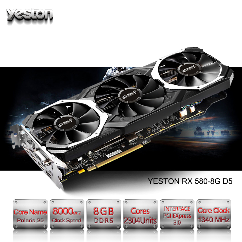 Yeston Radeon RX 580 GPU 8 GB GDDR5 256 bit di Gioco computer Desktop PC Video Schede Grafiche di supporto DVI/ HDMI PCI-E X16 3.0