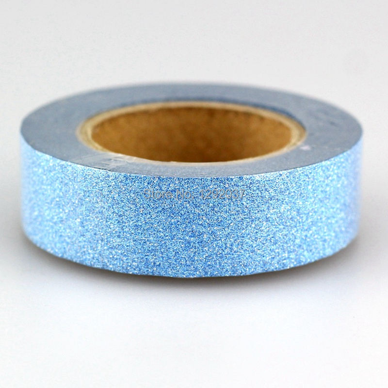 1PCS 15mm*10m Cute Blue Glitter Tape Decorative Washi Tape Paper DIY Scrapbooking Adhesive Tapes For Photo Album Stationery