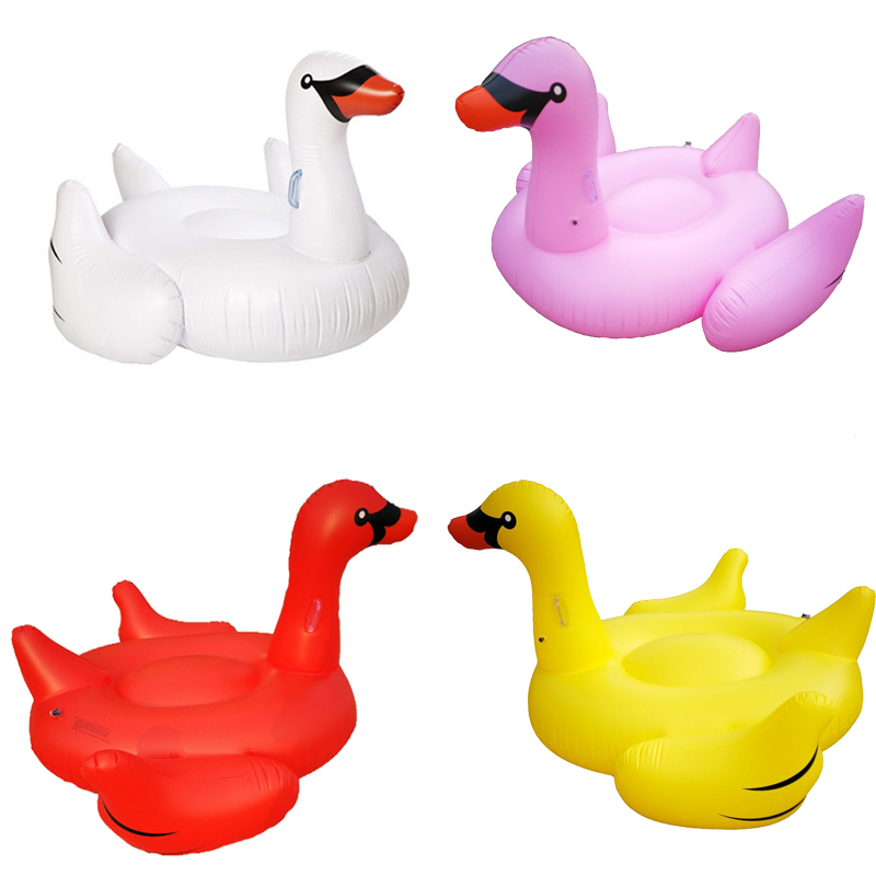 4 Color 1.9M Inflatable Swan Ride-On Pool Float Giant Colorful Inflatable Swan Swimming Ring Mattress Holiday Water Fun Pool Toy