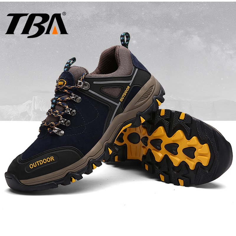 TBA Breathable Leather Men's Sneakers Outdoor Mountain Hiking Shoes Men Rubber Trekking Boots Men's Sport Shoes Winter Sneakers peak sport men outdoor bas basketball shoes medium cut breathable comfortable revolve tech sneakers athletic training boots