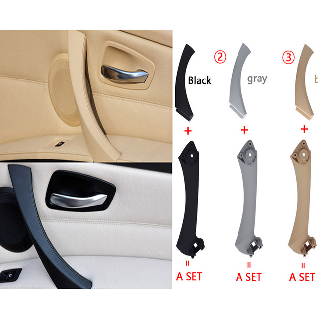 grijs beige zwart links rechts auto interieur handvat binnendeur armsteun panel pull trim cover voor bmw