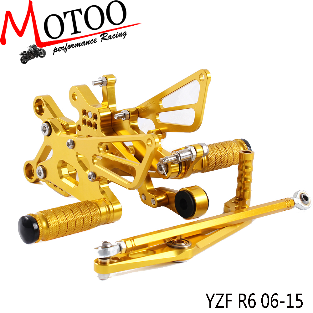 ФОТО Motoo - Full CNC aluminum Motorcycle Rearset Rear Set For YAMAHA YZF-R6 2006-2015