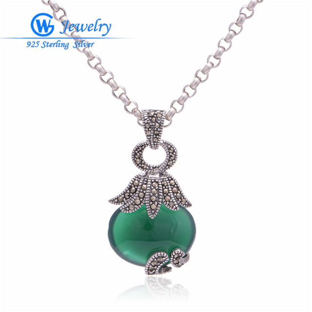 Free shipping Thailand silver carved jade pendant genuine 925 sterling silver jewelry for neckless women PET504H20