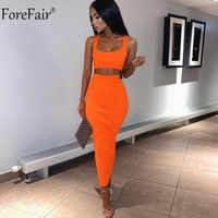 b9103045a50 ForeFair комплект из двух предметов для женщин Танк летнее праздничное  платье неоновый без рукавов миди сексуальный