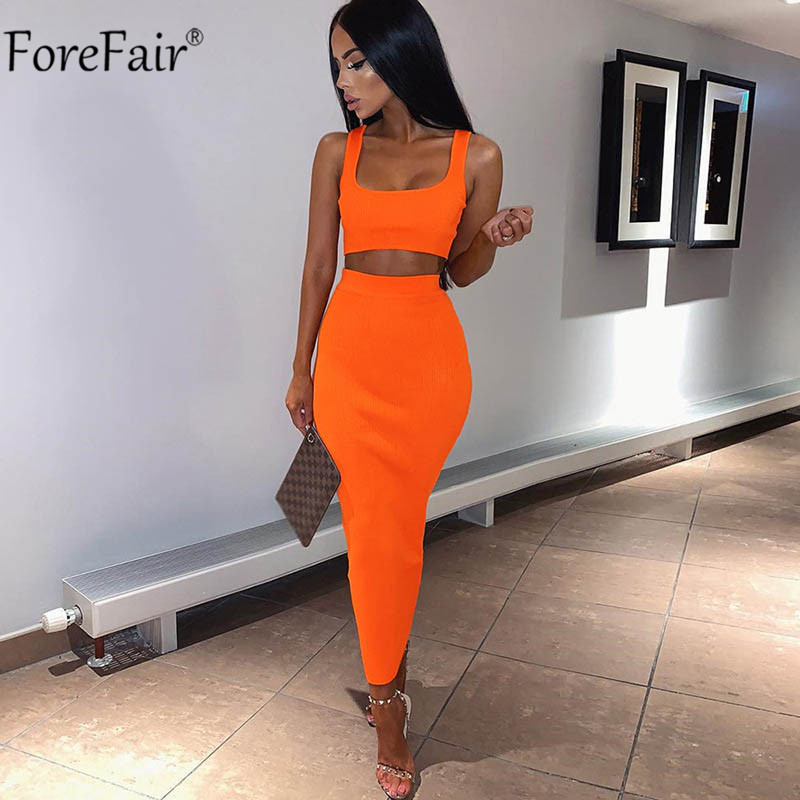 ForeFair Two Pieces Set Women Tank Summer Party Dress Neon Sleeveless Midi Sexy Club Bodycon Dress