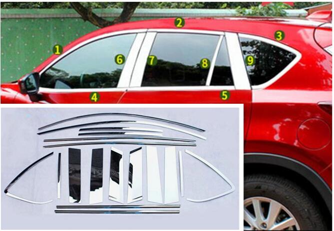 Stainless steel car window garnish pillar windows middle strip trim frame For Mazda CX-5 CX5 2013 2014 2015 2016 hot sell windows dedicated car modification for excelle gt 2015 2016 bright silver stainless steel window trim strip