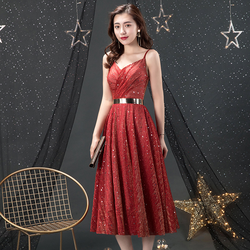 Sexy Red Sequin   Cocktail     Dress   2019 V Neck Spaghetti Strap Midi Prom   Dress   A-line Backless Short Semi-formal Party   Dresses