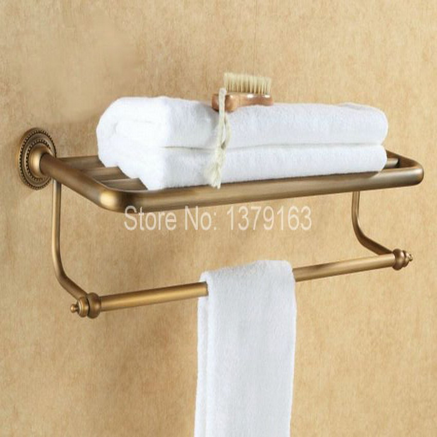 Antique Brass Bathroom Towel Rack with Shelf Towel Bar Towel Rail Wall Mounted Bathroom Accessory aba084 аксессуар чехол micromax q413 skinbox slim silicone transparent t s mq413 006 page 5