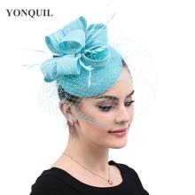 Вуалетки шляпа с вуалью имитация Sinamay заколка для волос перо церковь Свадебная вечеринка гонки события головные уборы Новое поступление 16 цветов