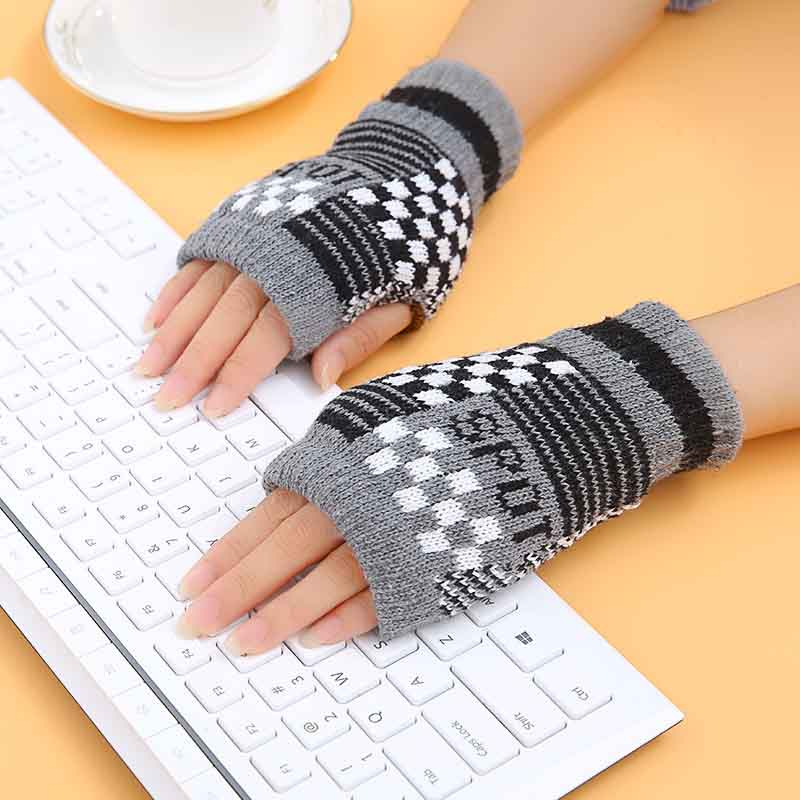 New plaid Autumn Winter warm Gloves Half Finger Touch screen Thickened Outdoor sports half-finger gloves free shipping