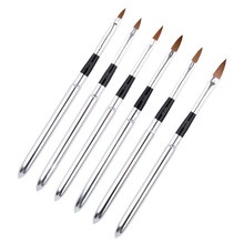 Silver Stainless Steel Handle Design Nail Brush Acrylic UV Gel Drawing Painting Pen Manicure Nail Art Tool Full Set