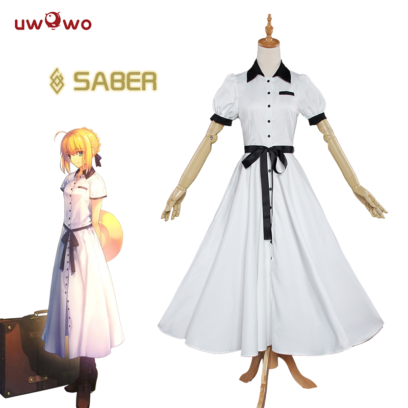 UWOWO Saber Cosplay Fate Stay Night Arturia Pendragon Costume Aniplex Saber Journey to England Cosplay Fate Stay Night Costume